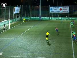Cornella keeper Ramon Juan made history in the cup tie with Barca. DUGOUT