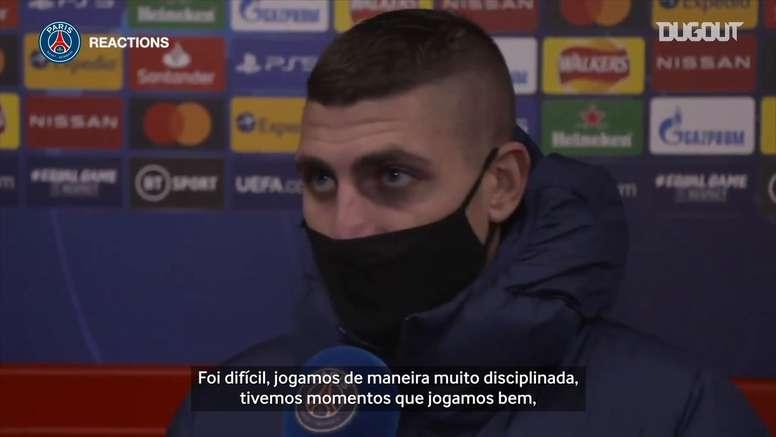 Marco Verratti avaliou a atuação do PSG contra o Mancheste United. DUGOUT