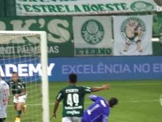 Breno abriu o placar para o Palmeiras contra o Vasco. DUGOUT