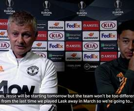 Ole Gunnar Solskjær and Lingard spoke before the match. DUGOUT