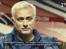 Jose Mourinho spoke after Tottenham's crushing victory at Old Trafford. DUGOUT