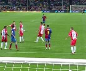 La prima rete di Dani Alves con il Barcellona. Dugout