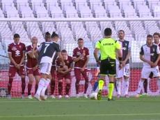 Ronaldo firma la prima rete su punizione. Dugout