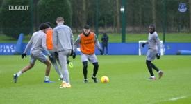 James Rodríguez and Richarlison in Everton training. DUGOUT