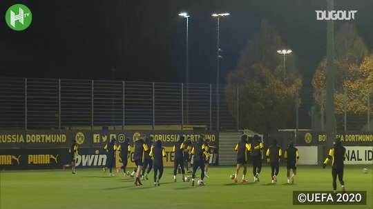 Haaland trains with Dortmund ahead of Brugge clash. DUGOUT