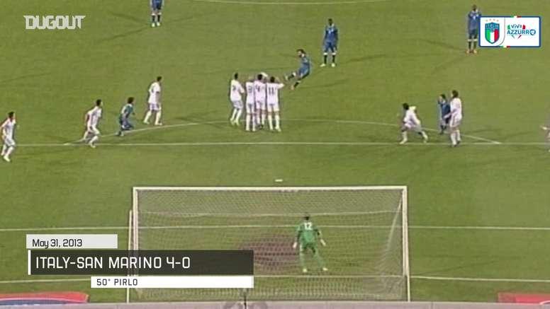 Golaços de falta da seleção italiana. DUGOUT
