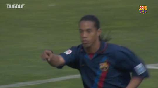 Ronaldinho scored a volley for Barca. DUGOUT