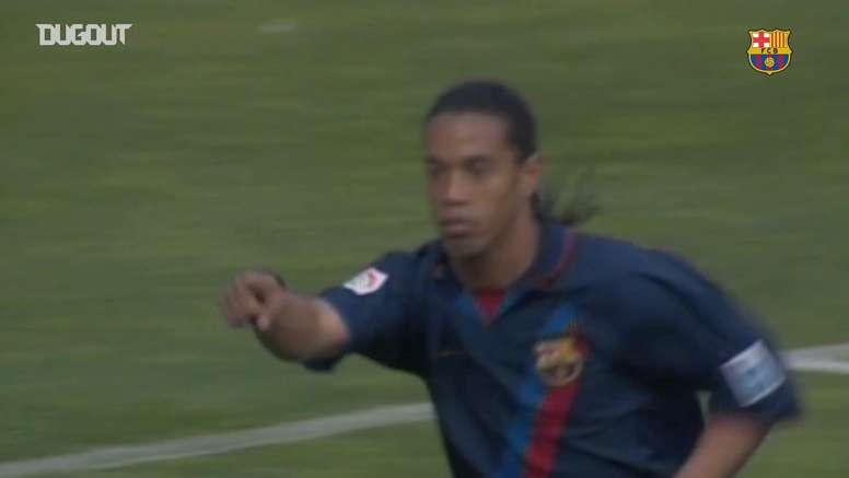 Ronaldinho scored a volley for Barca. DUGOUT