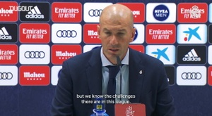 Zidane spoke to the media after the Alavés match. DUGOUT