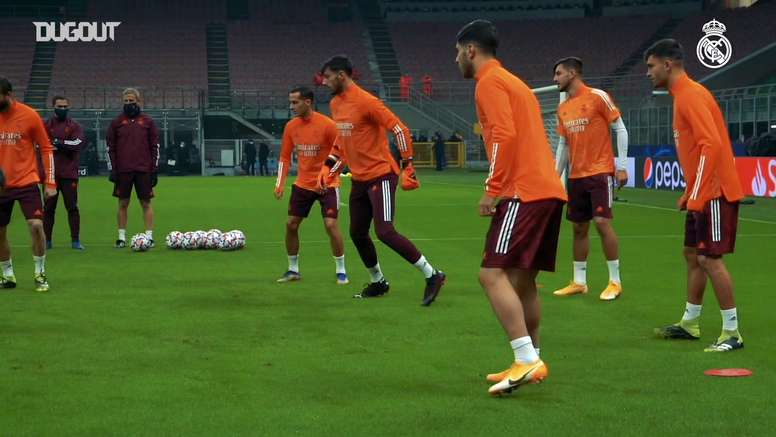 Real Madrid treina no San Siro antes do confronto com a Internazionale. DUGOUT
