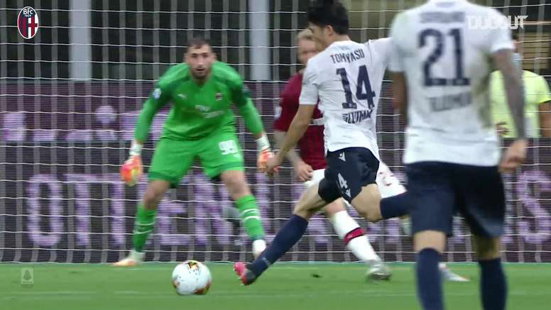 Takehiro Tomiyasu hit a lovely curling shot for Bologna at Milan. DUGOUT