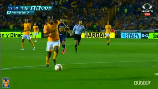 Quinones scored both goals in Tigres' 2-0 victory over Pumas in 2019. DUGOUT