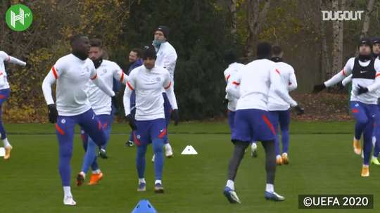 Chelsea stars in training before Rennes clash. DUGOUT