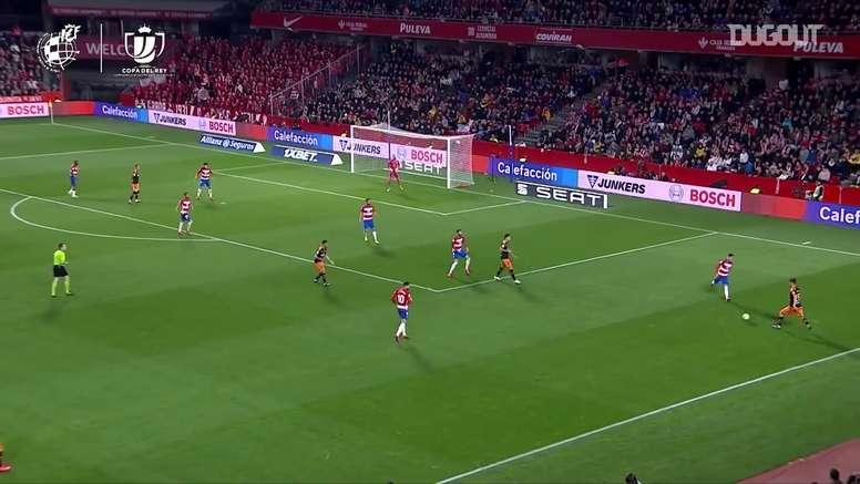 Rodrigo marca para o Valencia na Copa do Rei de 2019/20. DUGOUT