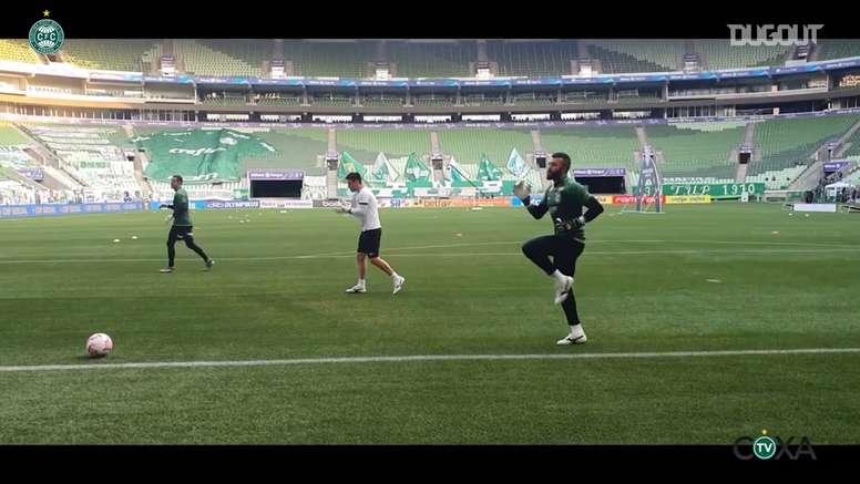 Bastidores da vitória do Coritiba sobre o Palmeiras no Allianz Parque. DUGOUT