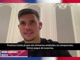 Bruno Guimarães lamenta encerramento do Campeonato Francês. DUGOUT