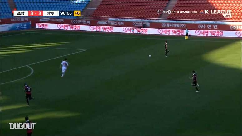 Ten man Pohang beat Sangju Sangmu in a goal fest in the K-League. DUGOUT