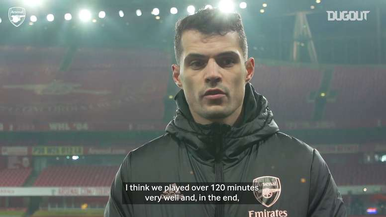 Granit Xhaka discusses Arsenal's win over Newcastle. DUGOUT
