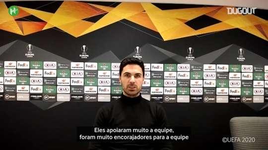 Mikel Arteta falou com a imprensa após a vitória do Arsenal por 4 a 1 sobre o Rapid Viena. DUGOUT
