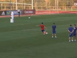 Morata making amazing saves in Spain training. DUGOUT