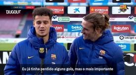 Coutinho exalta assistência de Griezmann em vitória do Barça. DUGOUT