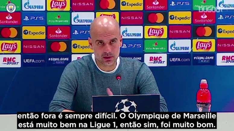 Pep Guardiola elogiou sua equipe após a vitória fora de casa pela Champions. DUGOUT