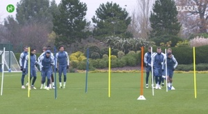 Spurs players in training before Ludogorets clash. DUGOUT