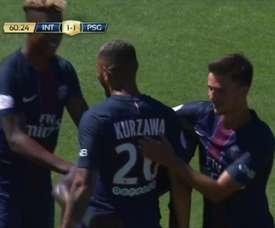 La rete di Kurzawa contro l'Inter. Dugout