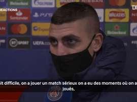 Verratti après la victoire face à United. Dugout