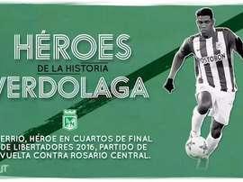 Orlando Berrío, héroe 'verdolaga'. Dugout