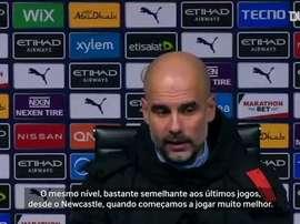 Pep Guardiola não poupou elogios ao Manchester City após vitória sobre o Aston Villa. DUGOUT