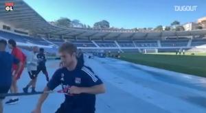 Le premier entrainement de Lyon au Portugal. Dugout