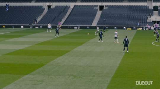 Tottenham's players were divided into two as they played an 11 v 11 contest. DUGOUT