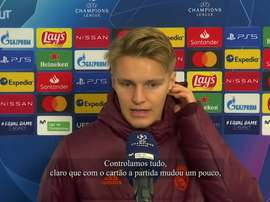 Martin Ødegaard comemora vitória do Real na Champions. DUGOUT