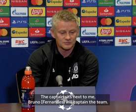 Bruno Fernandes captained Man Utd for the first time on Tuesday. DUGOUT