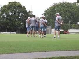 Santos train ahead of Boca Juniors clash at La Bombonera. DUGOUT