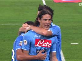 Edinson Cavani got three goals for Napoli versus AC Milan at the San Paolo. DUGOUT