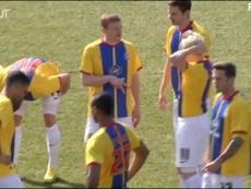 Barnsley wore Palace's kit. DUGOUT