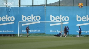 Barcelona trained ahead of the match. DUGOUT