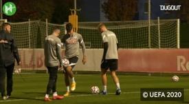 Dominik Szoboszlai train with Red Bull Salzburg ahead of Bayern clash. DUGOUT