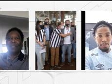 Pelé conversa com Marinho em homenagem do Santos pelos seus 80 anos. DUGOUT