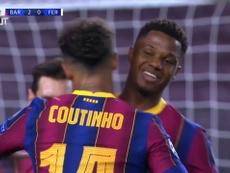 Así fue el primer gol azulgrana de Coutinho en Champions. DUGOUT
