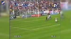 Luis Suárez marcó un doblete ante Defensor Sporting en 2006. Captura/Dugout