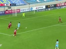 Cesinha scored for Daegu against Busan in the K-League. DUGOUT