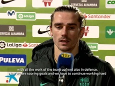 Antoine Griezmann speaks after the match. DUGOUT