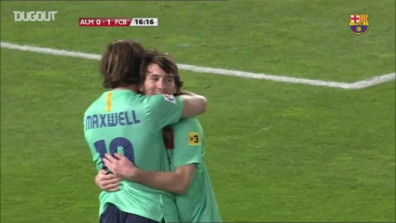 VIDÉO: Le triplé de Messi contre Almeria. Dugout
