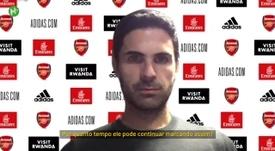 O técnico Mikel Arteta concedeu entrevista após a goleada do Arsenal sobre o Norwich. DUGOUT
