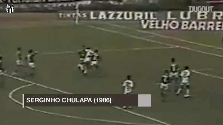 Serginho Chulapa é um dos que marcaram golaços de bicicleta na história do Santos. DUGOUT