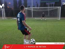 Carvajal faced Ramos in a penalties challenge. DUGOUT