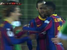Ousmane Dembele missed a penalty, but then scored for Barca v Cornella. DUGOUT